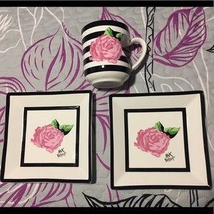 Betsey Johnson Pink Rose Plates & Mug Set
